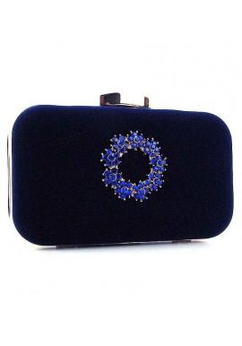 Фото Синий каркасный женский велюровый клатч 7060
