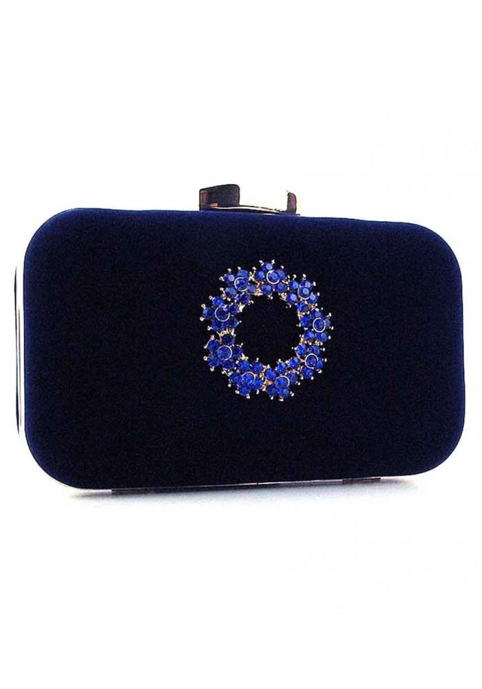 Синий каркасный женский велюровый клатч 7060
