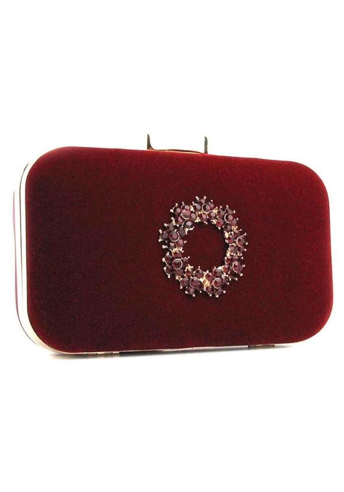 Красный каркасный женский велюровый клатч 7060