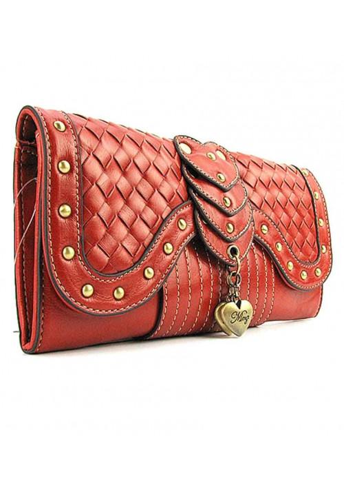 Рыжий плетеный женский клатч MN 1046