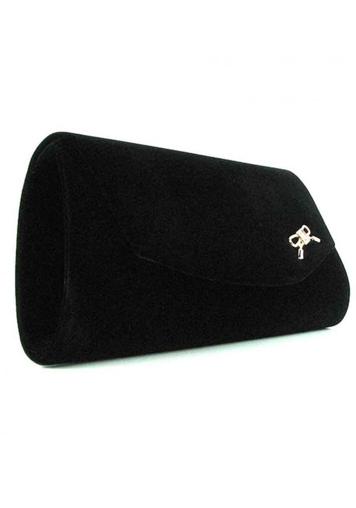 Черный женский клатч велюр