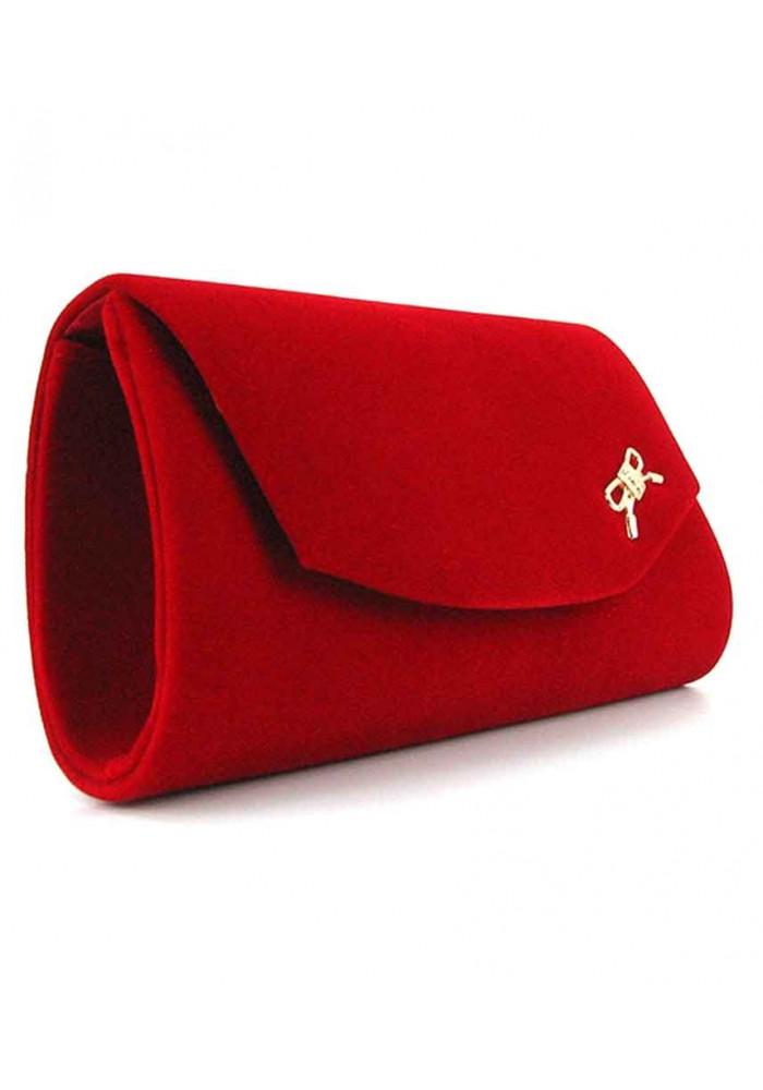 Красный женский клатч велюр