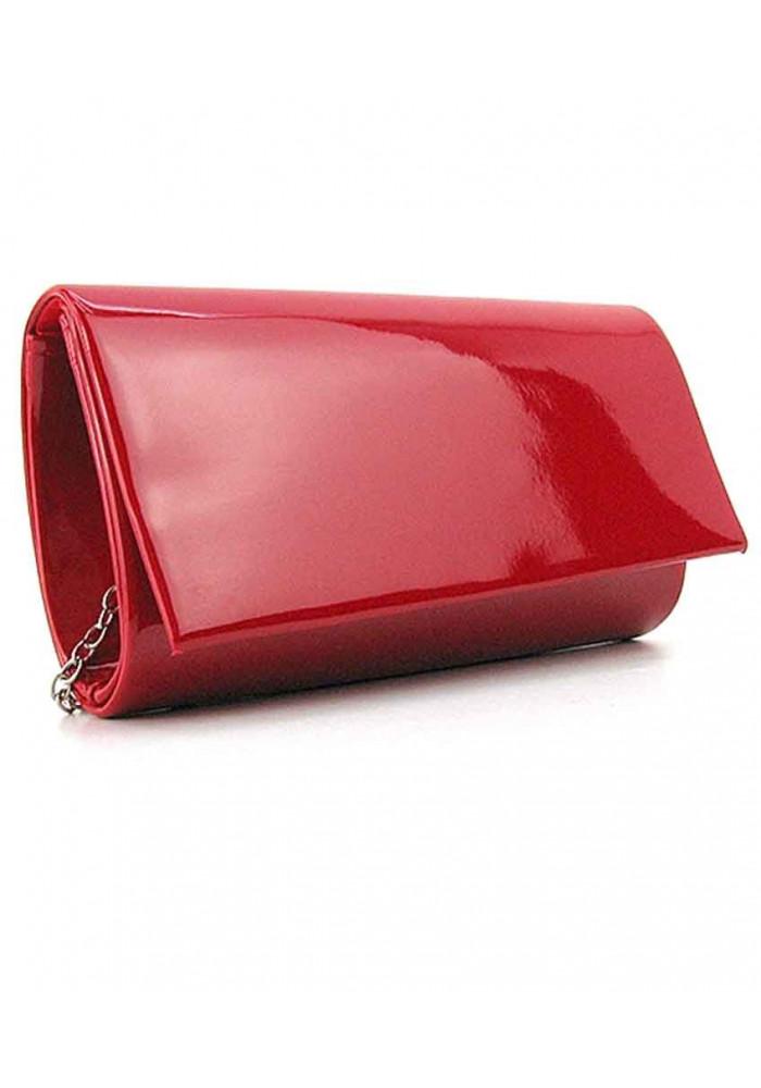 Красный лаковый женский клатч
