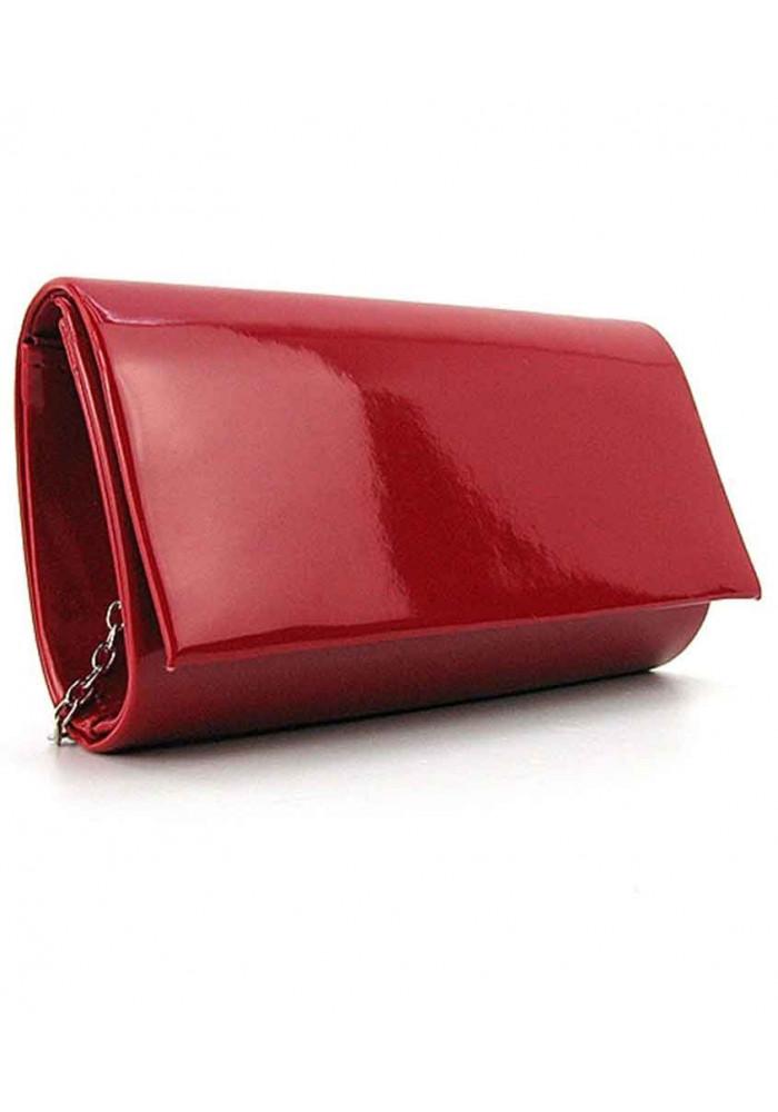 Бордовый лаковый женский клатч