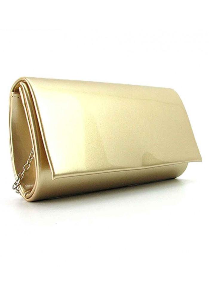 Золотистый лаковый женский клатч