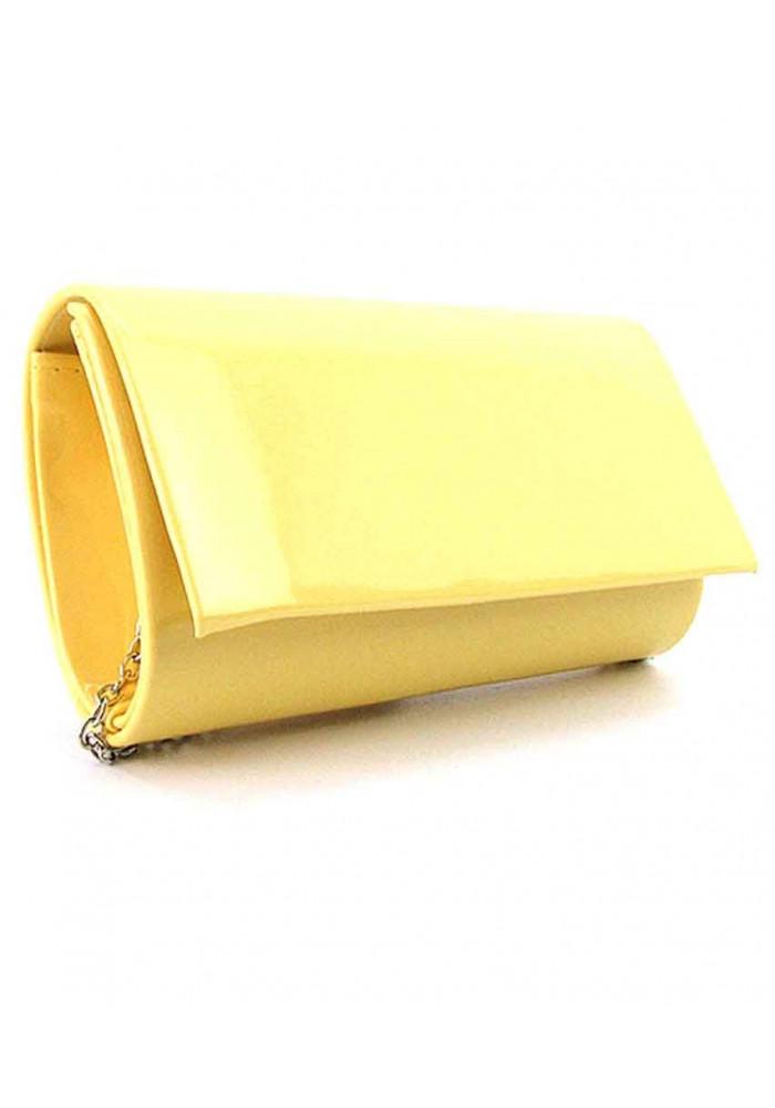 Желтый лаковый женский клатч
