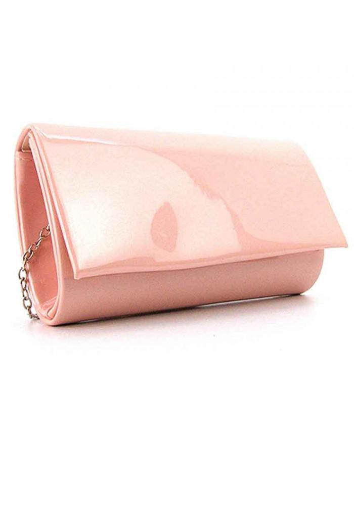 Розовый лаковый женский клатч