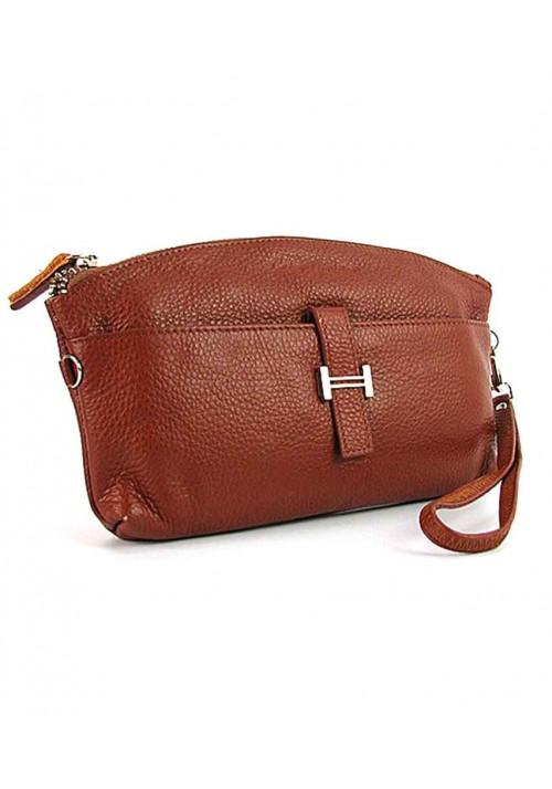 Светло-коричневый кожаный женский клатч 1103
