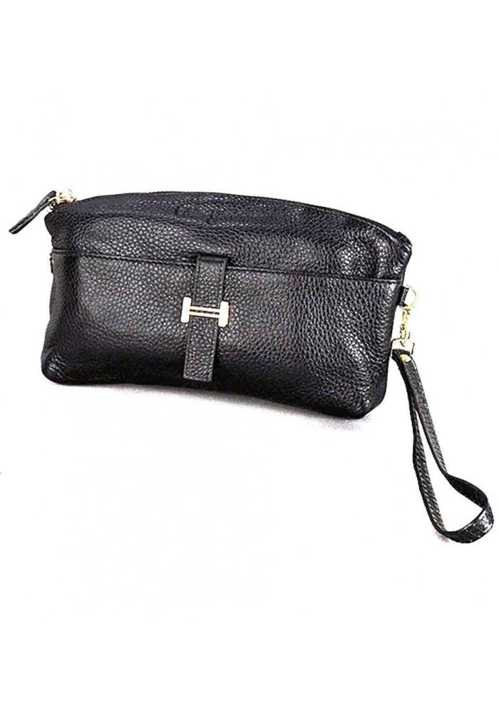Черный кожаный женский клатч 1103
