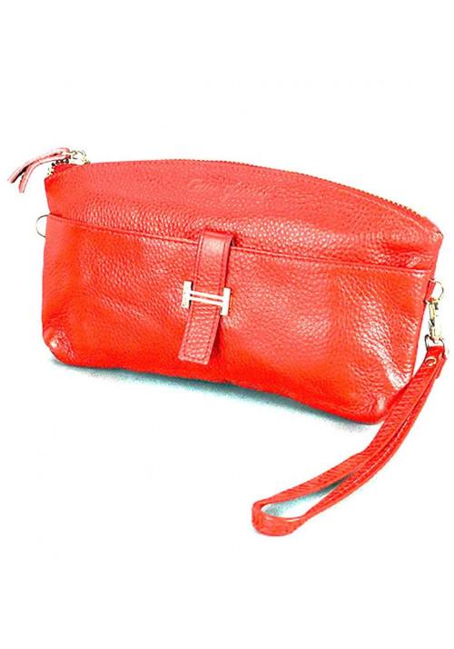 Красный кожаный женский клатч 1103