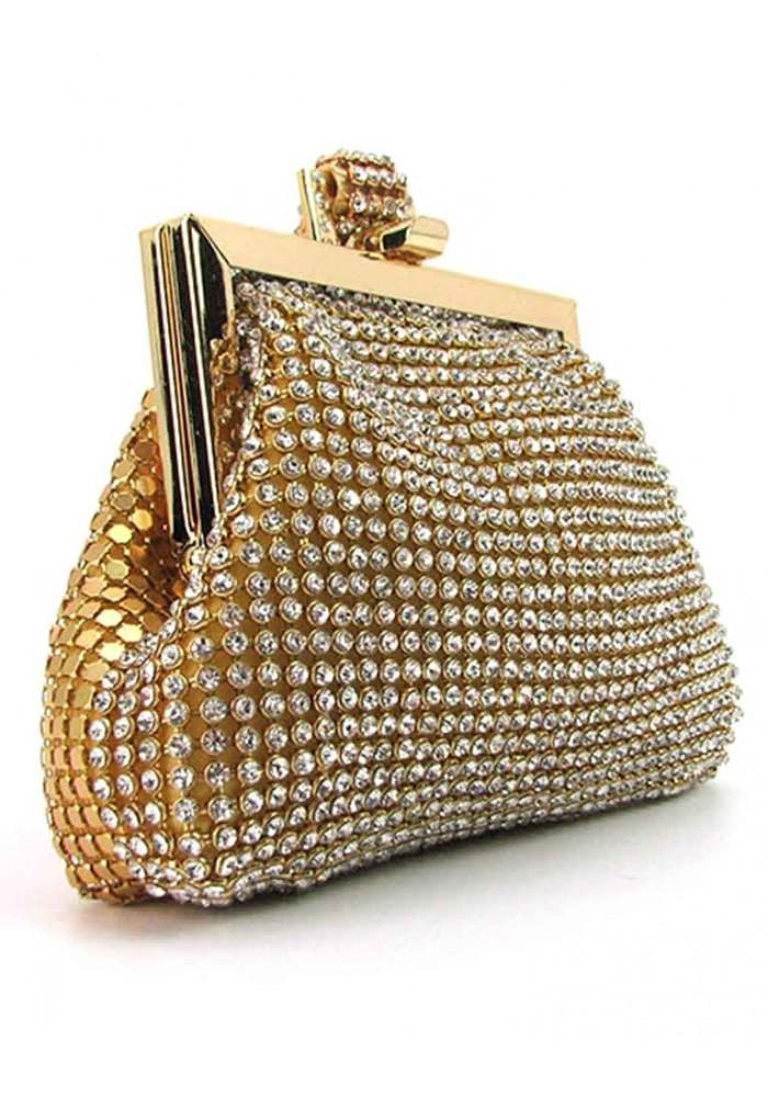 Золотой женский клатч-кошелек со стразами