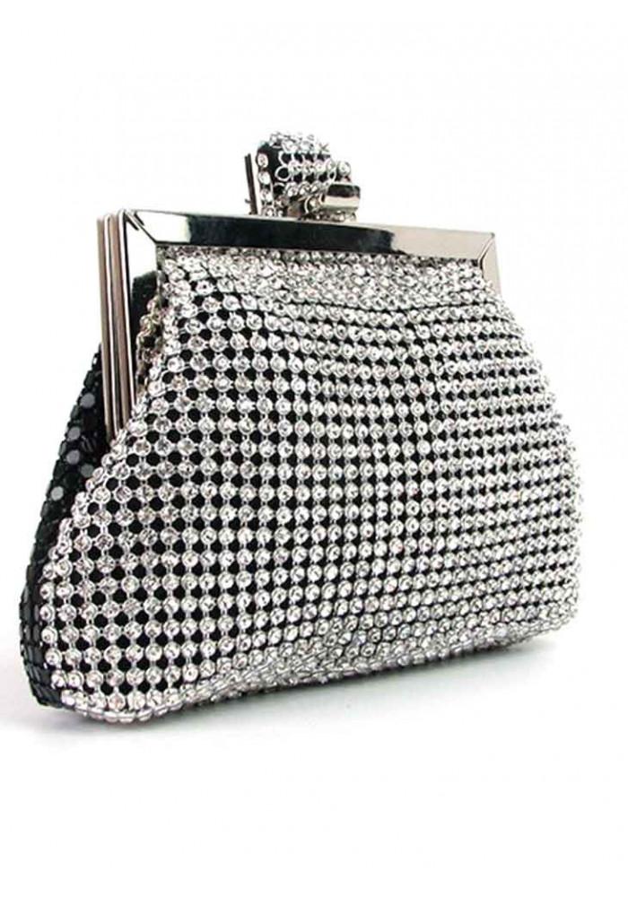 Серебристый женский клатч-кошелек со стразами