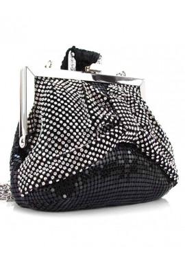 Фото Черный женский клатч-кошелек со черно-белыми стразами