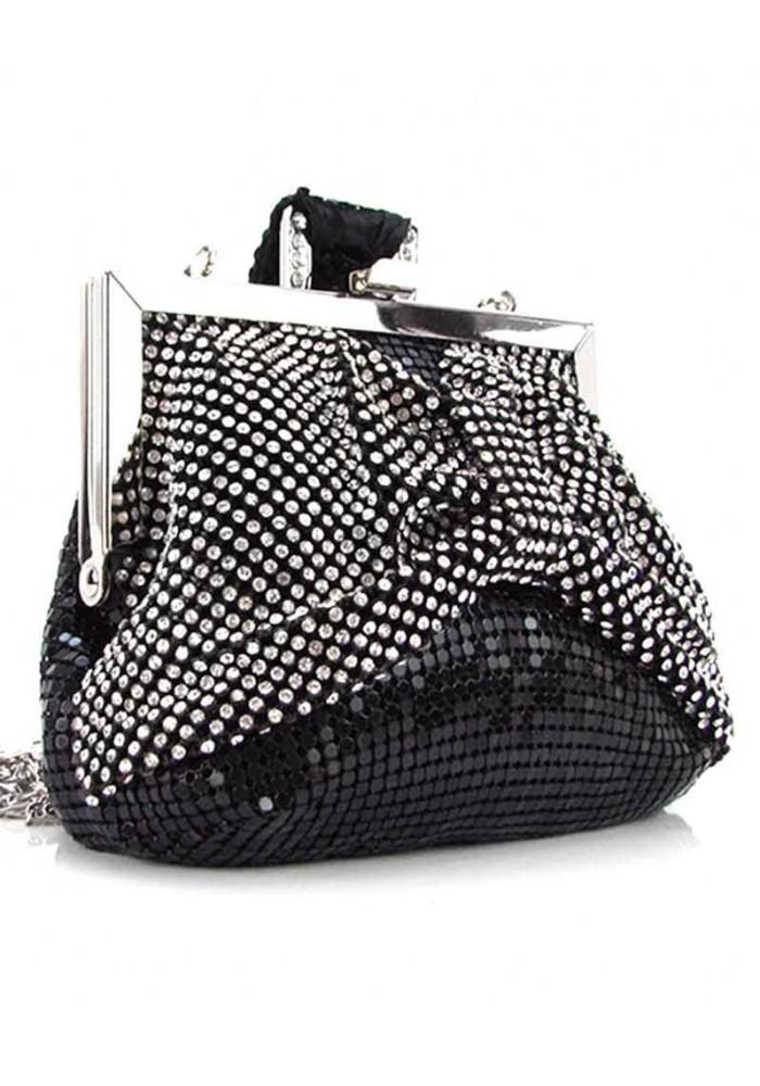 Черный женский клатч-кошелек со черно-белыми стразами