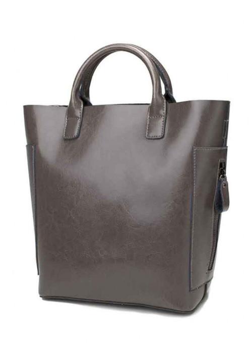Кожаная женская сумка Grays 8848G серая