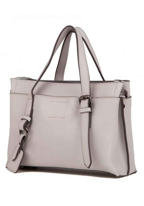 Кожаная женская сумка Grays 8823LG серо-белая