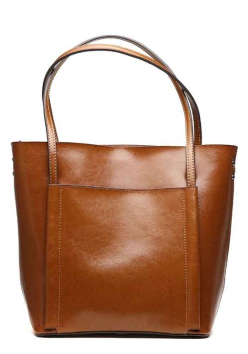 Кожаная женская сумка Grays 2013LB светло-коричневая