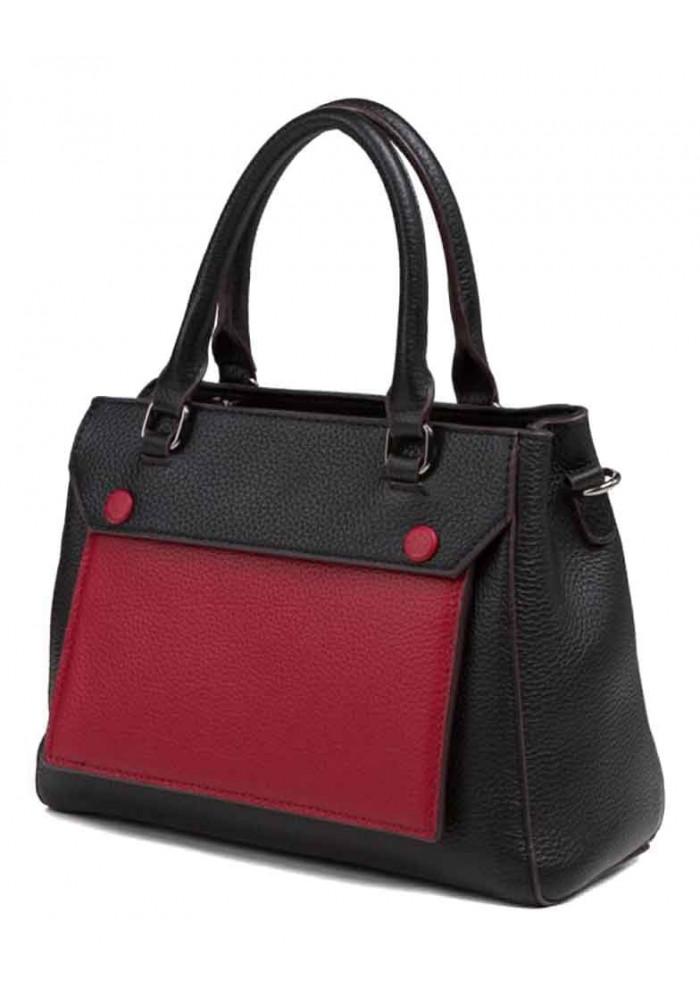 Кожаная женская сумка Olivia 5181AК черно-красная