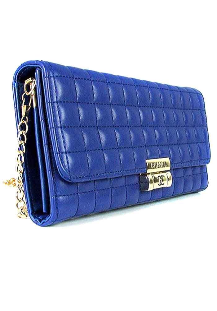 Синий стеганный женский клатч 2009