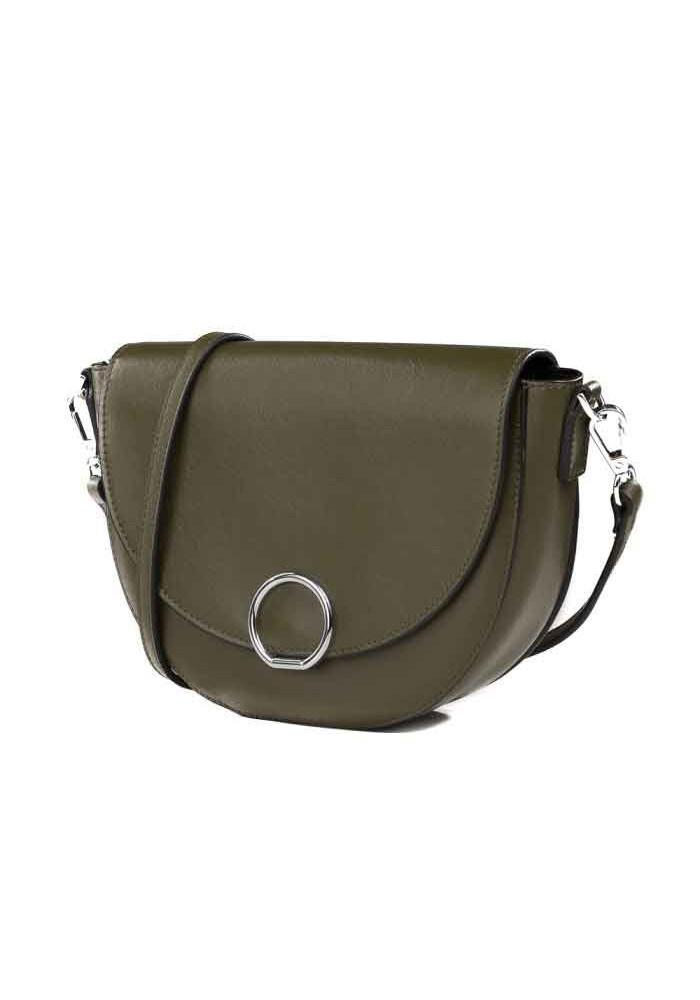 Кожаная женская сумка-клатч L.D 93660 зеленая