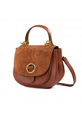 Фото Кожаная женская сумка-клатч L.D 91010 светло-коричневая