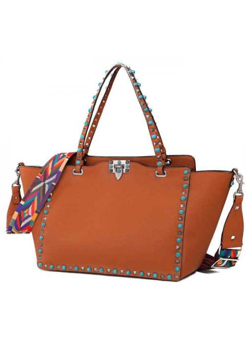 Кожаная женская сумка L.D 96268 светло-коричневая