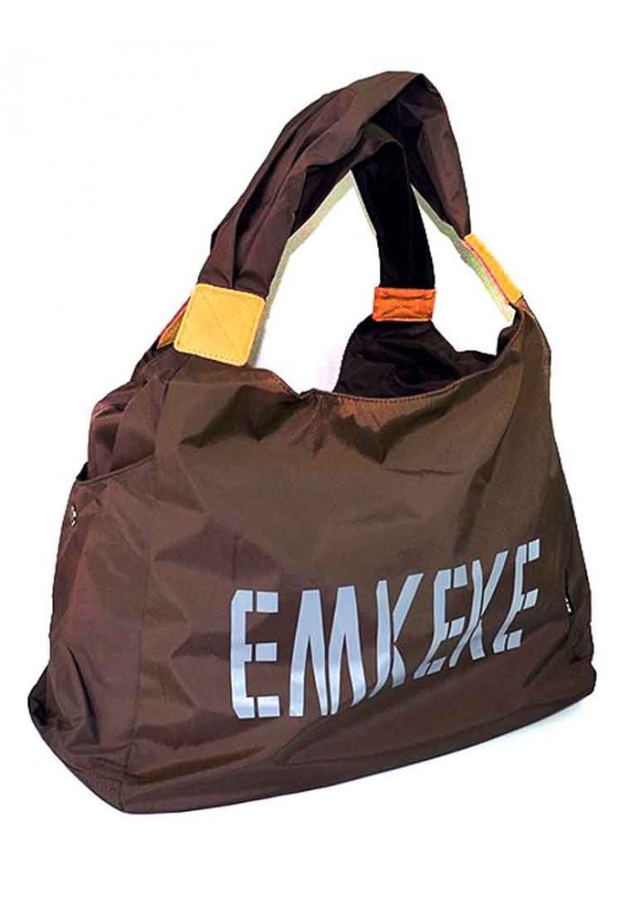 Текстильная женская сумка Emkeke 915 коричневая