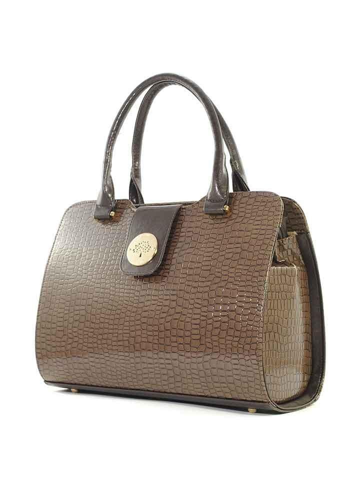 Коричневая лаковая женская сумка серии DKL-CROCO-BROWN