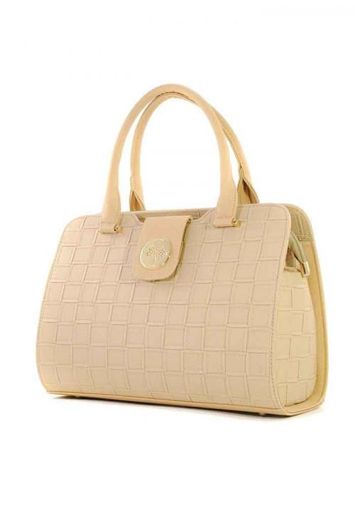 Плетеная бежевая женская сумка серии DKL