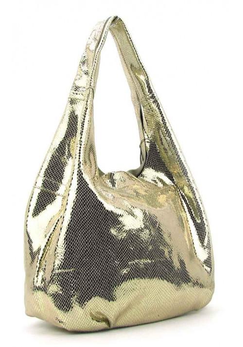 Женская кожаная сумка 6680 золотистая