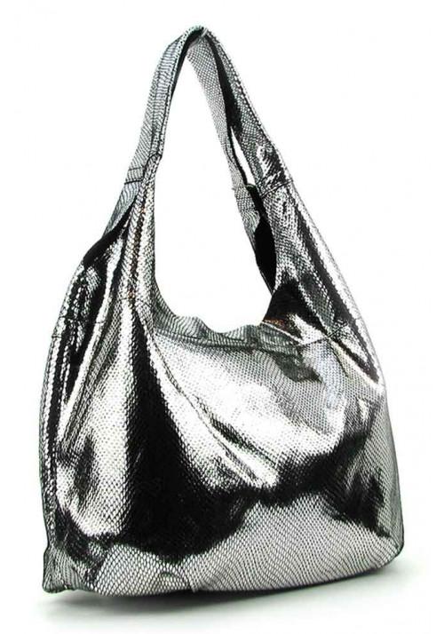 Женская кожаная сумка 6680 серебристая