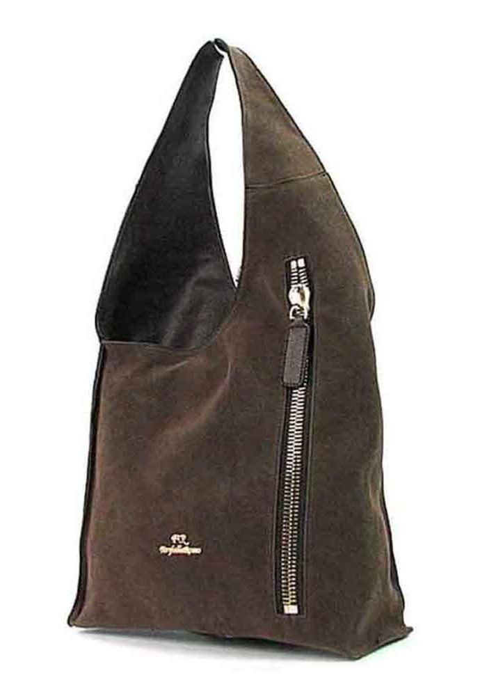 Коричневая женская замшевая сумка FR
