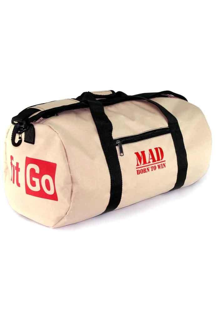 Спортивная мужская сумка FitGo TM MAD бежевая