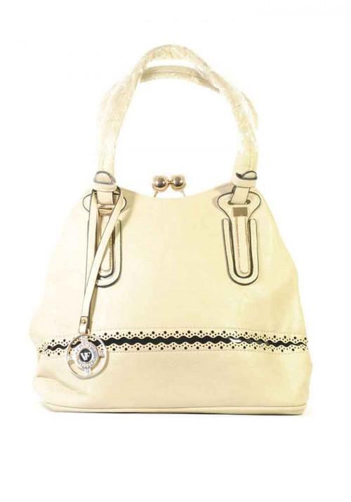 Бежевая мягкая женская сумка с оригинальной застежкой