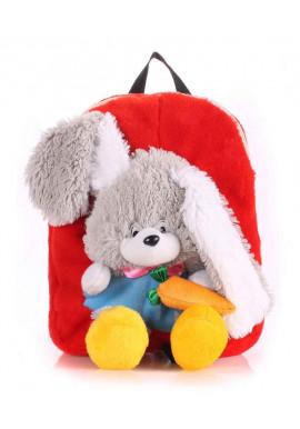 Фото Детский рюкзак из меха Kiddy Rabbit красный