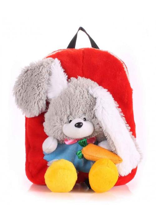 Детский рюкзак из меха Kiddy Rabbit красный