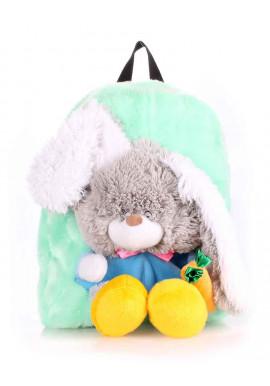 Фото Детский рюкзак из меха Kiddy Rabbit зеленый