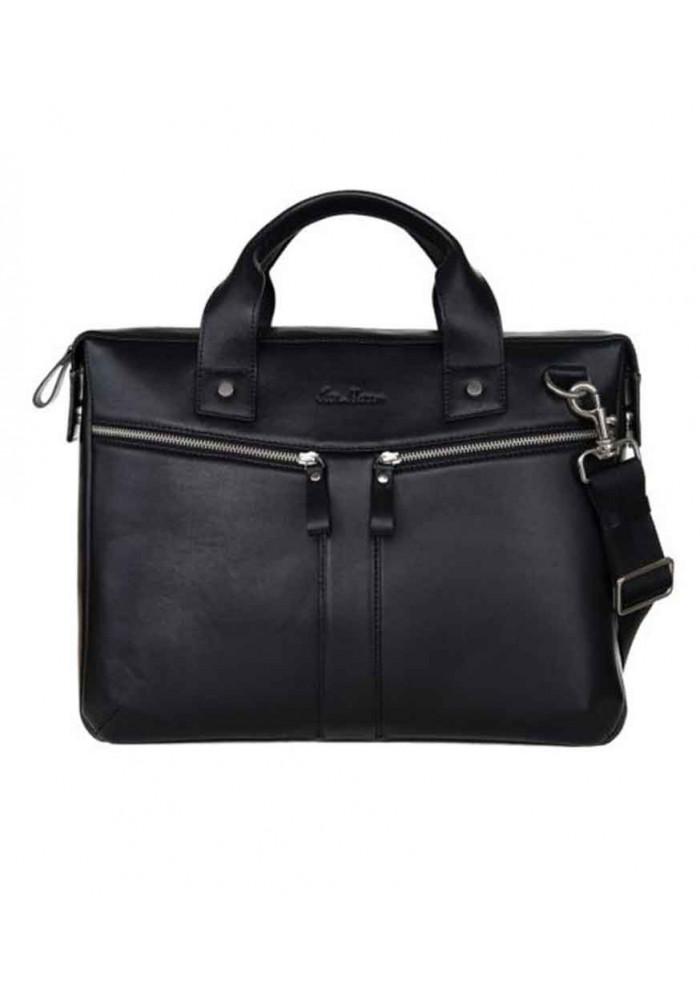 Мужская сумка из кожи ISSA HARA черная