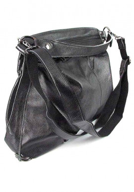 Фото Черная мягкая женская кожаная сумка 6651