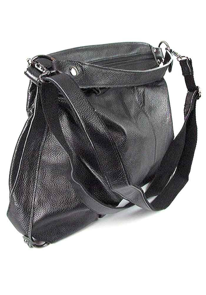 Черная мягкая женская кожаная сумка 6651