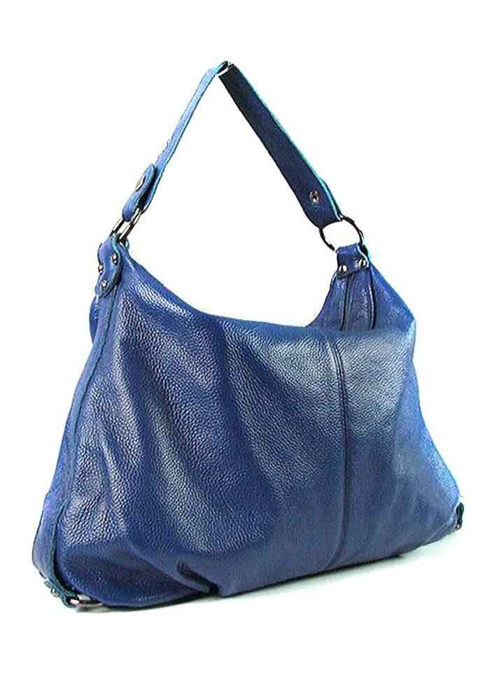 Синяя мягкая женская кожаная сумка 6651