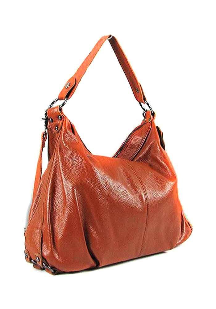 Коричневая мягкая женская кожаная сумка 6651