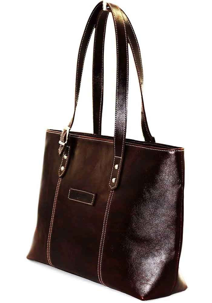 Кожаная женская сумка коричневая Vatto
