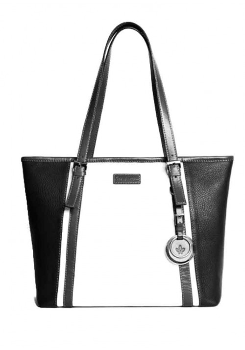 Женская кожаная сумка серии INSPIRATION ISSA HARA бело-черная