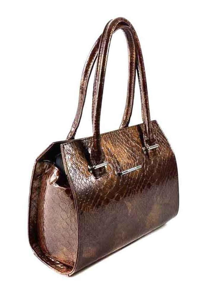 Качественная сумка женская Камелия коричневая лаковая