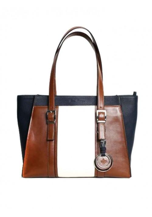 Женская кожаная сумка серии INSPIRATION ISSA HARA сине-бело-коричневая