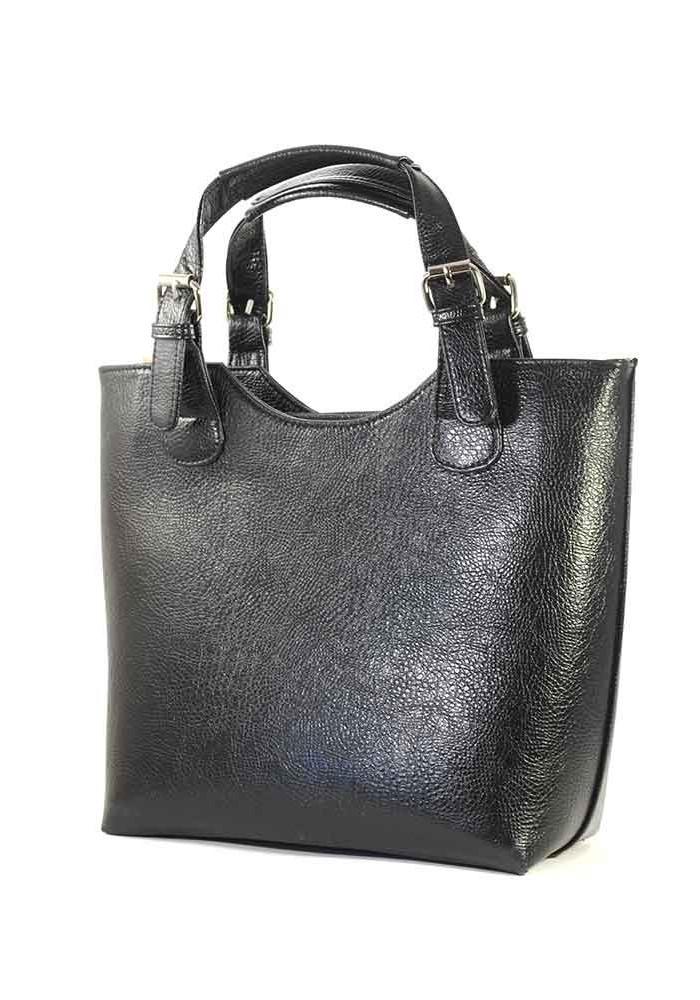Женская сумка шопер черная глянцевая с текстурой
