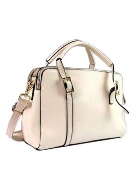 Фото Бежевая женская кожаная сумка с тремя отделами 957