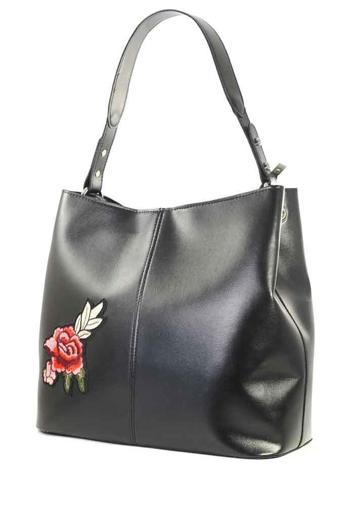 Большая черная лаковая женская сумка Betty Pretty