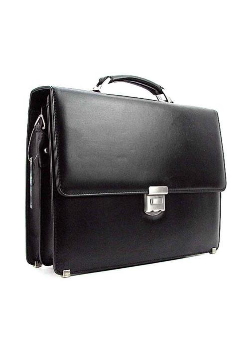 Мужской черный кожаный портфель Canpellini 3023-1